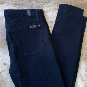 7 for all Mankind navy faux-suede mid-rise pant